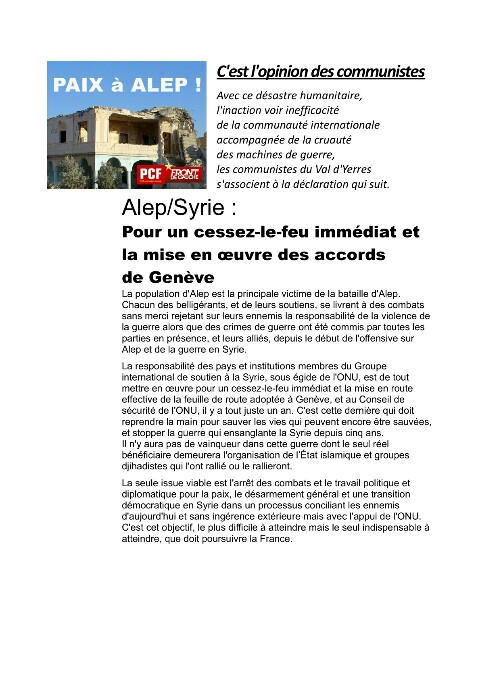 paix en Syrie ! - [PCF - VAL D'YERRES]